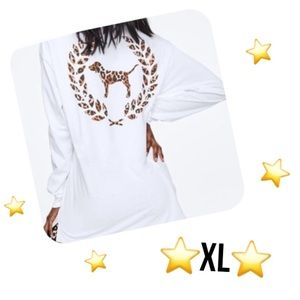PINK VS XL White Leopard Long Sleeve Campus Top
